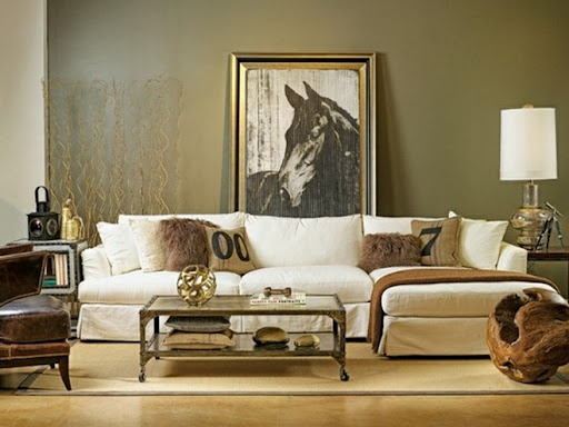 this free standing horse portrait makes the room feel modern even with the rustic textural touches of natural wood and hand stamped pillows - Horse Decor